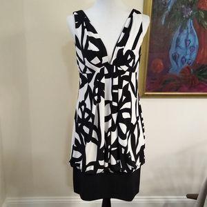 AGB black/white geometric print dress size 12